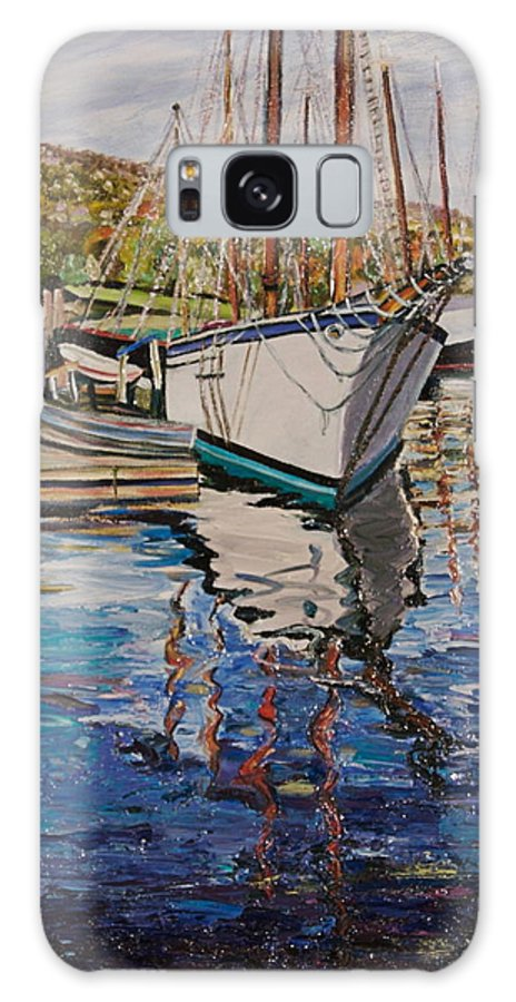 Maine Galaxy Case featuring the painting Maine Coast Boat Reflections by Richard Nowak