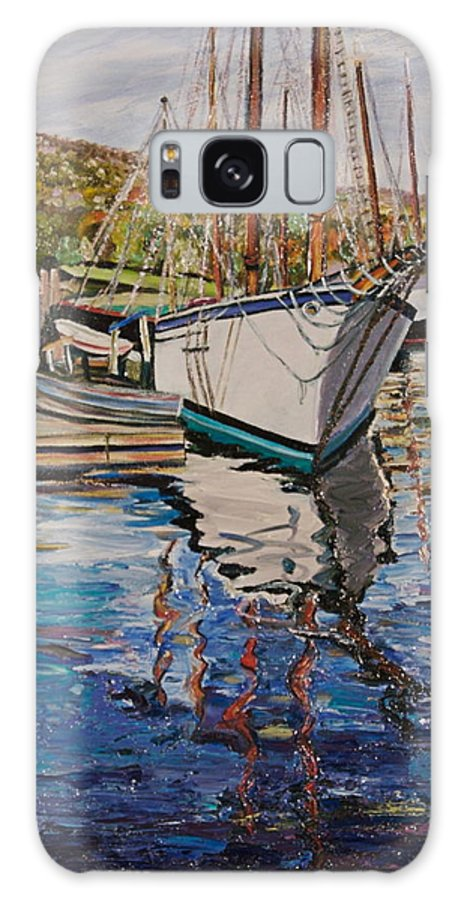 Maine Galaxy S8 Case featuring the painting Maine Coast Boat Reflections by Richard Nowak