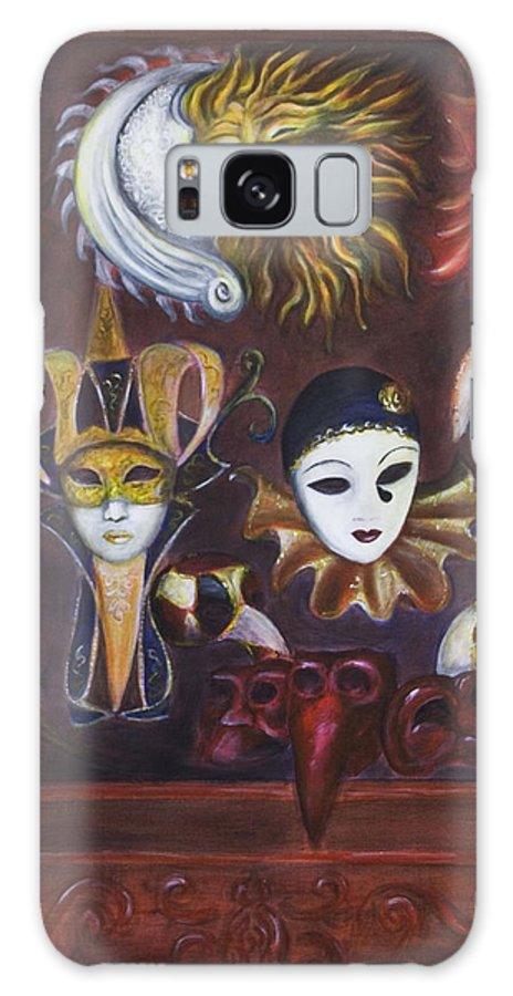 Masks Galaxy Case featuring the painting Making Faces II by Nik Helbig