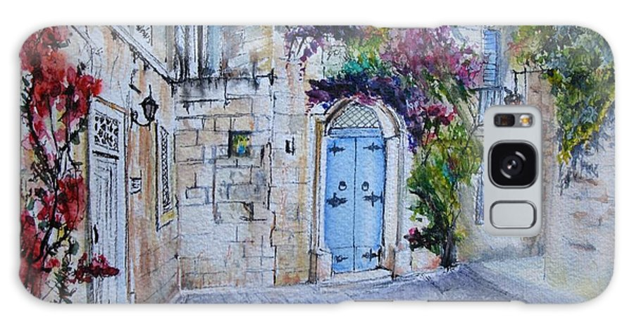 Red Galaxy Case featuring the painting Malta Courtyard by Lisa Cini