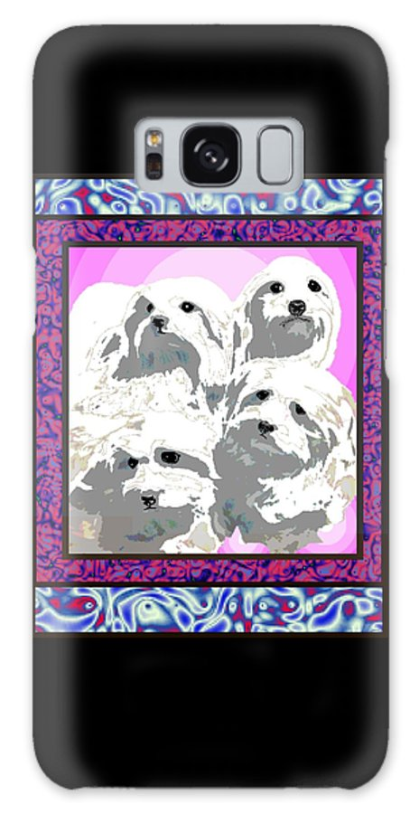 Maltese Group Galaxy Case featuring the digital art Maltese Group by Kathleen Sepulveda