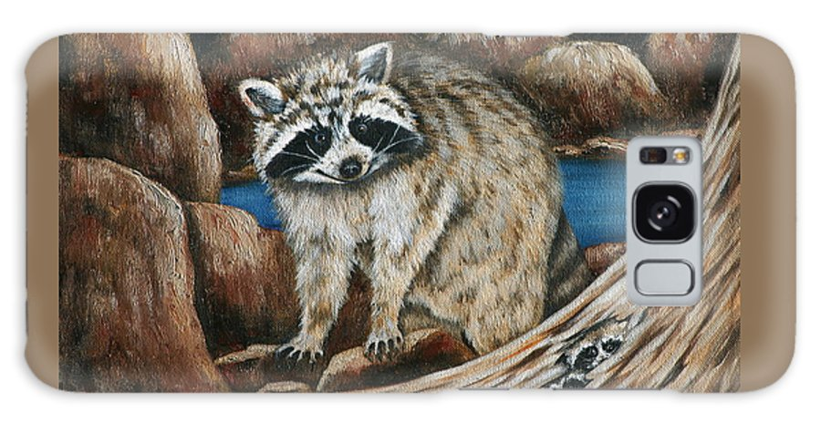 Racoon Galaxy S8 Case featuring the painting Mama Racoon by Ruth Bares