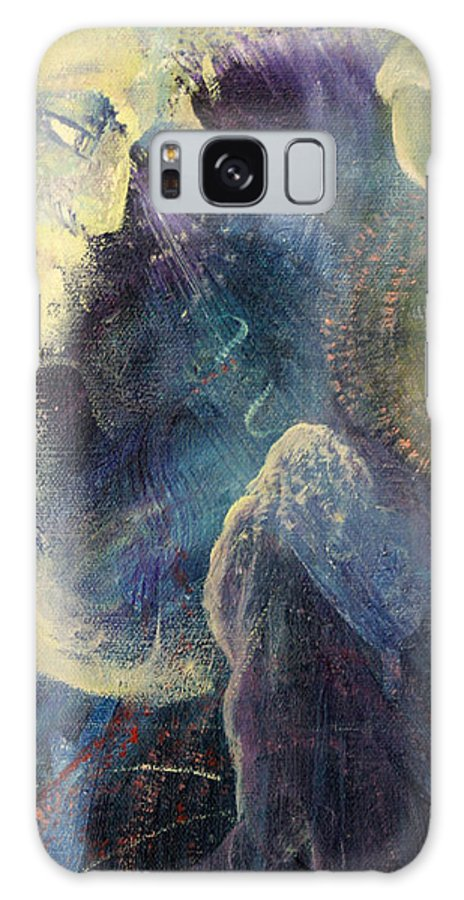 Man Galaxy S8 Case featuring the painting Man And The Moon by Alan Schwartz