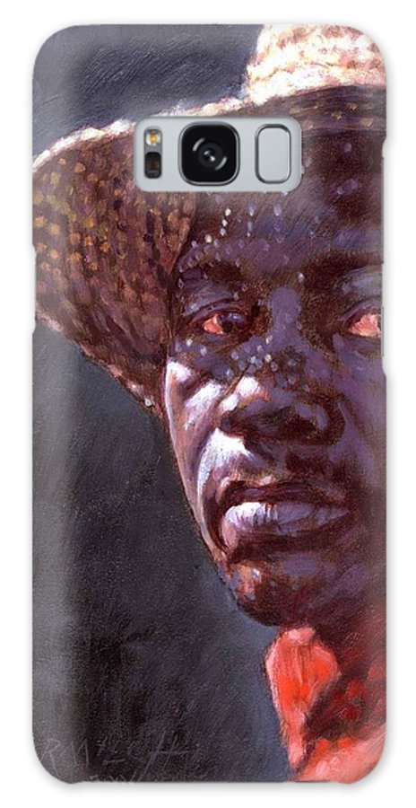 Black Man Galaxy Case featuring the painting Man In Straw Hat by John Lautermilch