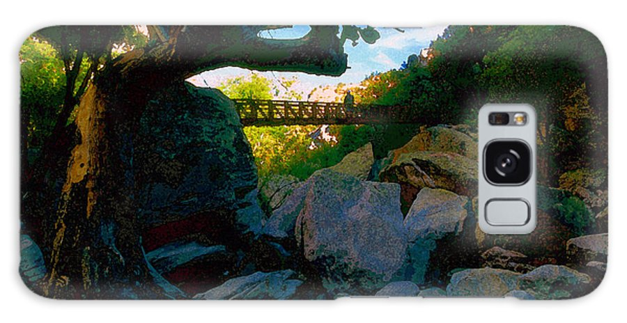 Man Galaxy S8 Case featuring the painting Man On The Bridge by David Lee Thompson