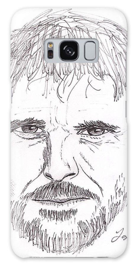 Ink Galaxy S8 Case featuring the drawing Man Staring by M Valeriano