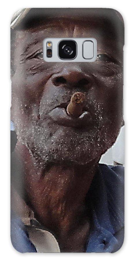 Man Sigar Cuba Libre Man Smoke Galaxy S8 Case featuring the pyrography Man With Sigar by Yury Bashkin