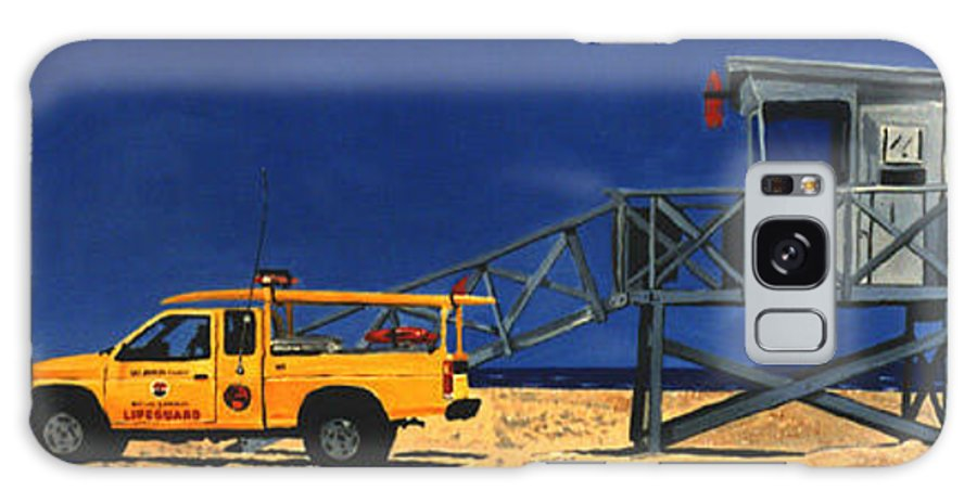 Modern Galaxy Case featuring the painting Manhattan Beach Lifeguard Station Side by Lance Headlee