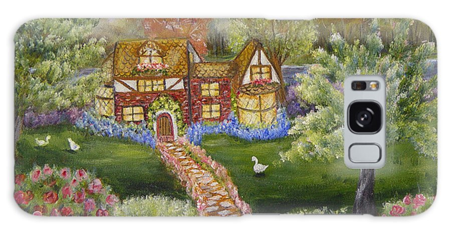 Landscape Galaxy Case featuring the painting Manor Of Yore by Quwatha Valentine