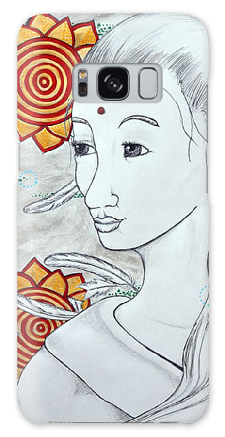 Mantra Galaxy S8 Case featuring the painting Mantras Mentioning Feathers by Amanda Christine Shelton