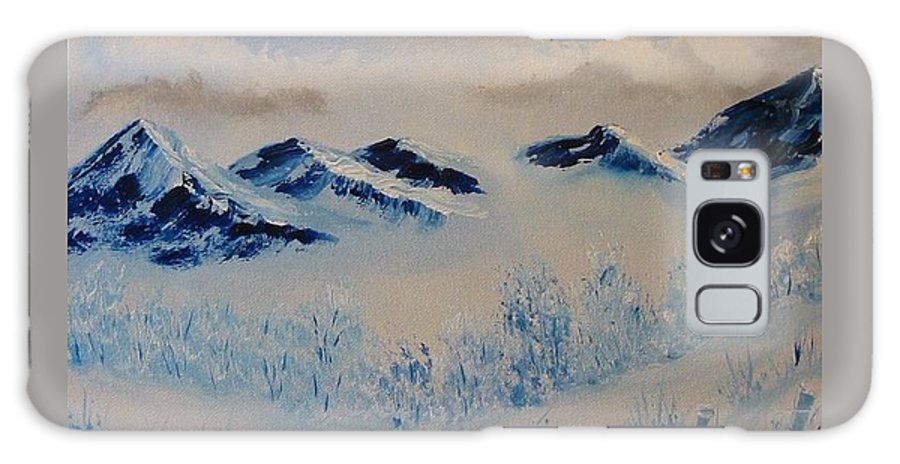 Blue Galaxy Case featuring the painting Many Valleys by Laurie Kidd