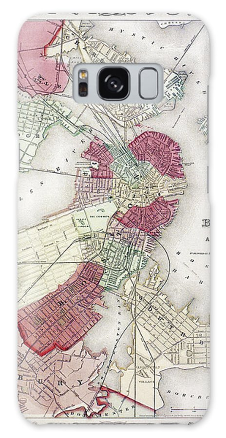 1865 Galaxy S8 Case featuring the photograph Map: Boston, 1865 by Granger