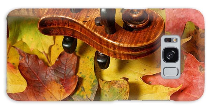 Violin Galaxy Case featuring the photograph Maple Violin Scroll On Fall Maple Leaves by Anna Lisa Yoder