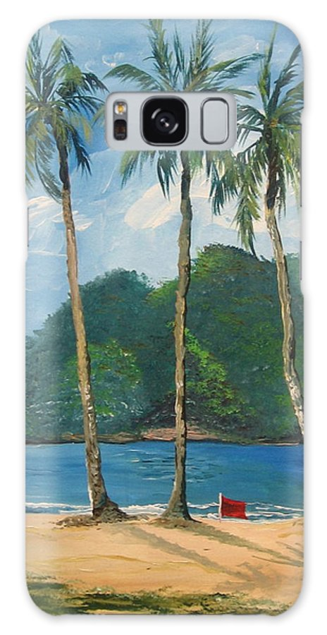 Maracas Galaxy S8 Case featuring the painting Maracas Bay 3 by Samantha Rochard