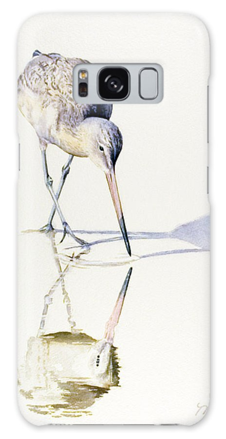 Bird Galaxy S8 Case featuring the painting Marbled Godwit Times Three by Marsha Karle