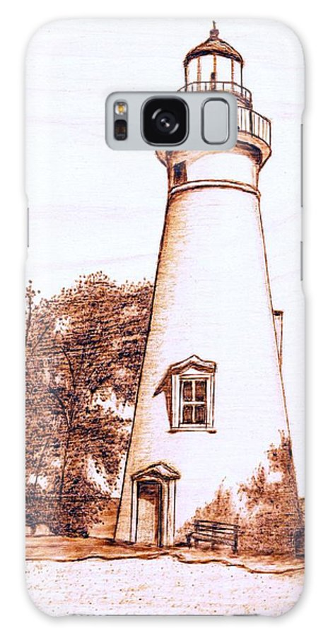 Lighthouse Galaxy S8 Case featuring the pyrography Marblehead Lighthouse by Danette Smith