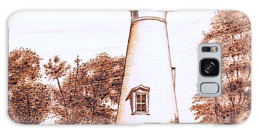 Lighthouse Galaxy Case featuring the pyrography Marblehead Lighthouse by Danette Smith