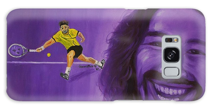 Marcos Galaxy S8 Case featuring the painting Marcos Baghdatis by Quwatha Valentine