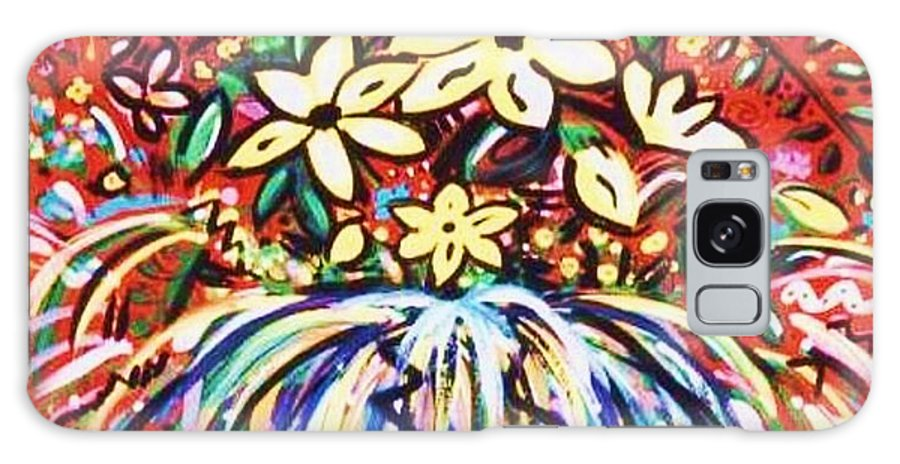 Floral Galaxy Case featuring the painting Mardi Gras Floral Explosion by Sidra Myers