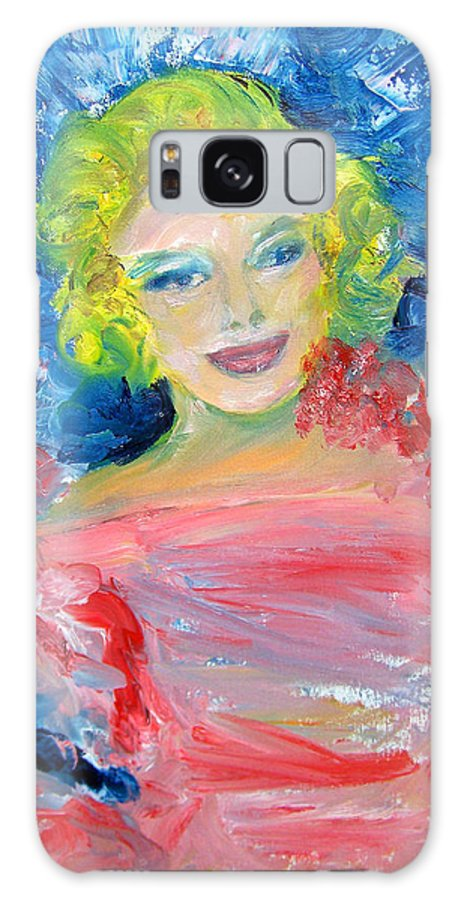 Marilyn Monroe Painting Galaxy S8 Case featuring the painting Marilyn Monroe In Pink And Blue by Patricia Taylor
