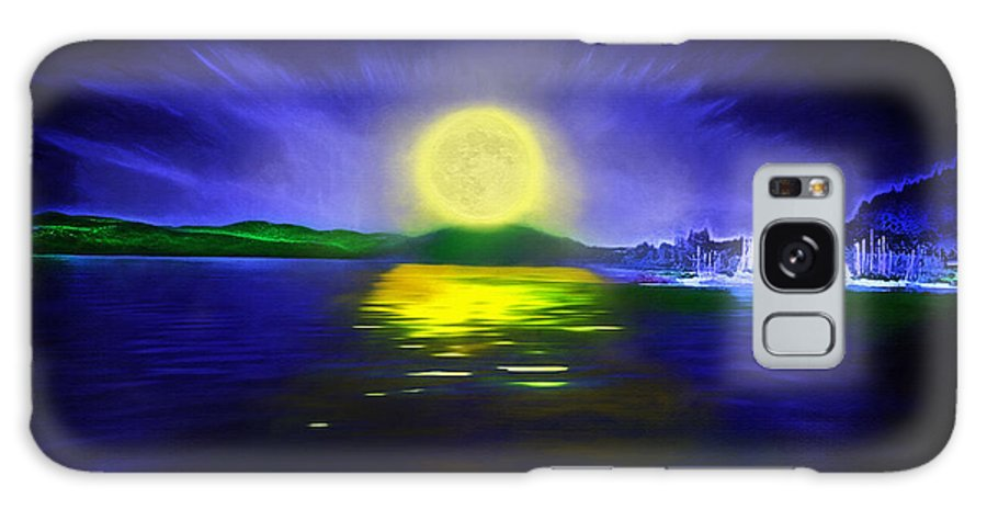 Couer D' Alene; Idaho; Lakes; Water; Night; Nighttime; Moonlight; Moonlit; Full Moon Galaxy S8 Case featuring the photograph Marina Moonrise by Steve Ohlsen