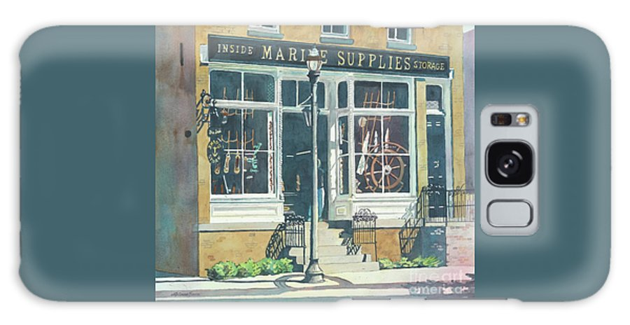 Storefronts Galaxy Case featuring the painting Marine Supply Store by LeAnne Sowa