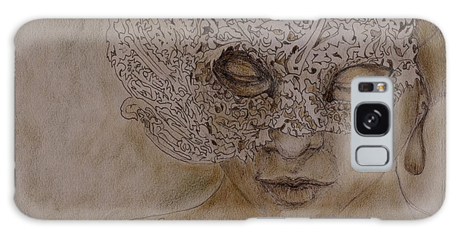 Mask Galaxy Case featuring the drawing Masquerade by Enzie Shahmiri