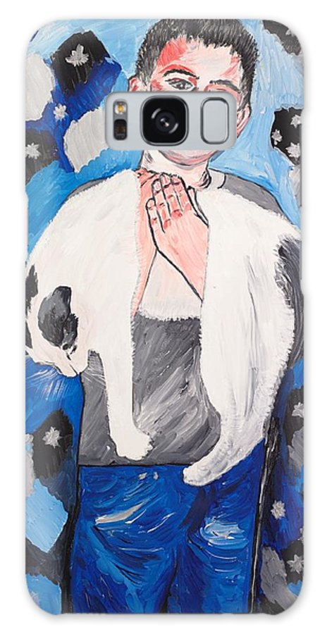 Portrait Galaxy S8 Case featuring the painting Max Holding Snowflake by Valerie Ornstein