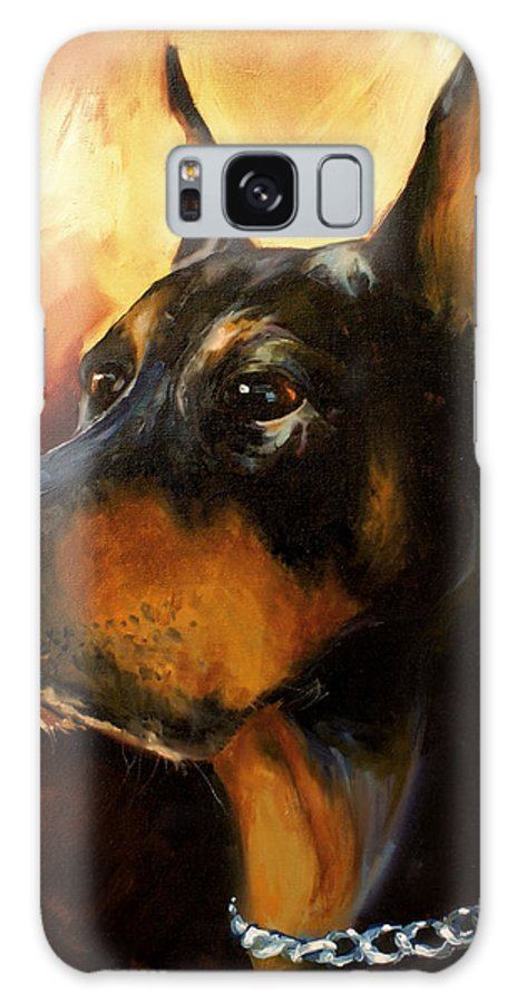 Doberman Dog Galaxy Case featuring the painting MAX by Michael Lang
