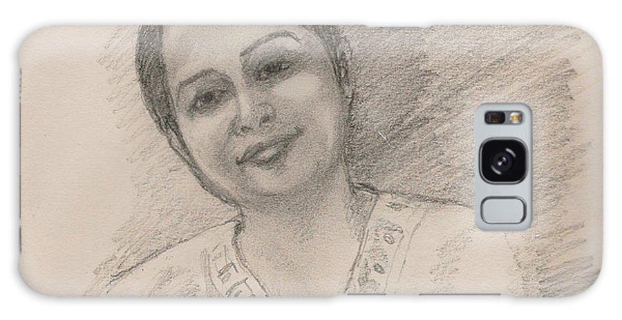Maya Galaxy S8 Case featuring the drawing Maya by Asha Sudhaker Shenoy