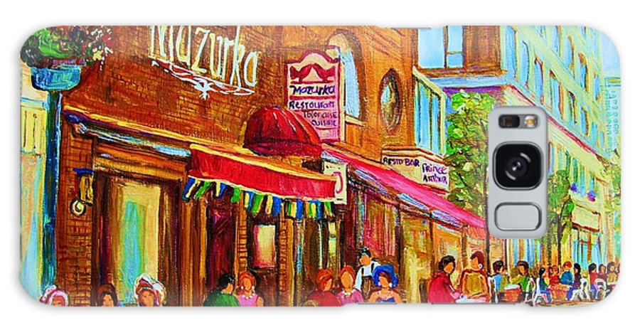 Montreal Streetscene Galaxy S8 Case featuring the painting Mazurka Cafe by Carole Spandau