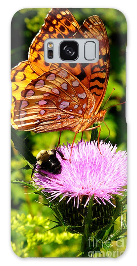 Meadow Fritillary Galaxy S8 Case featuring the photograph Meadow Fritillary On Thistle Blossom by Thomas R Fletcher