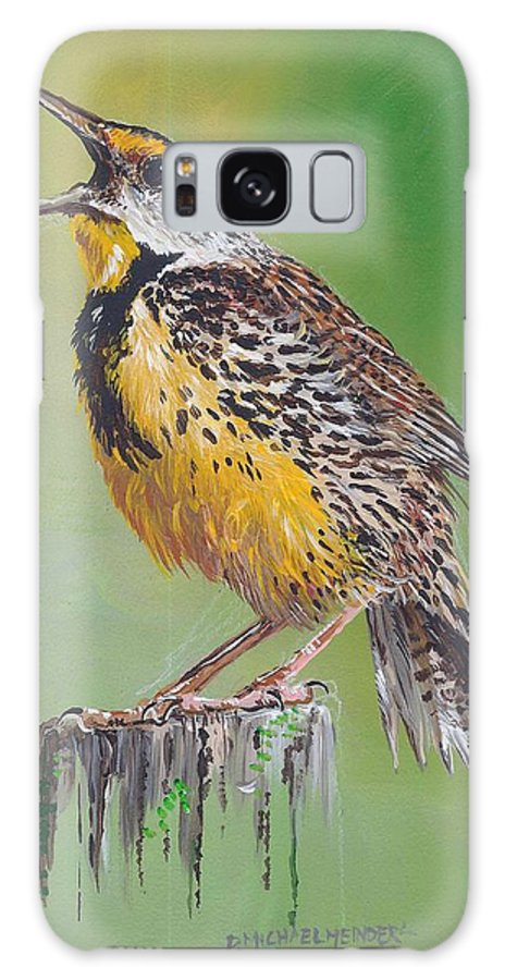 Meadow Lark Galaxy S8 Case featuring the painting Meadow Lark by D Michael Meinders