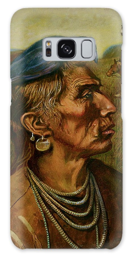 American Galaxy S8 Case featuring the painting Medicine Crow Indian by Alan Carlson