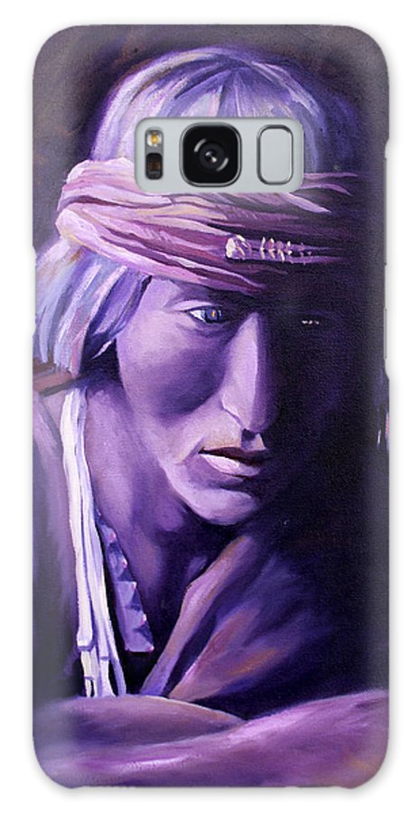 Native American Galaxy S8 Case featuring the painting Medicine Man by Nancy Griswold
