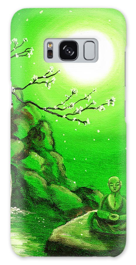 Landscape Galaxy S8 Case featuring the painting Meditating While Cherry Blossoms Fall In Green by Laura Iverson