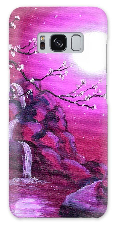 Landscape Galaxy S8 Case featuring the painting Meditating While Cherry Blossoms Fall by Laura Iverson