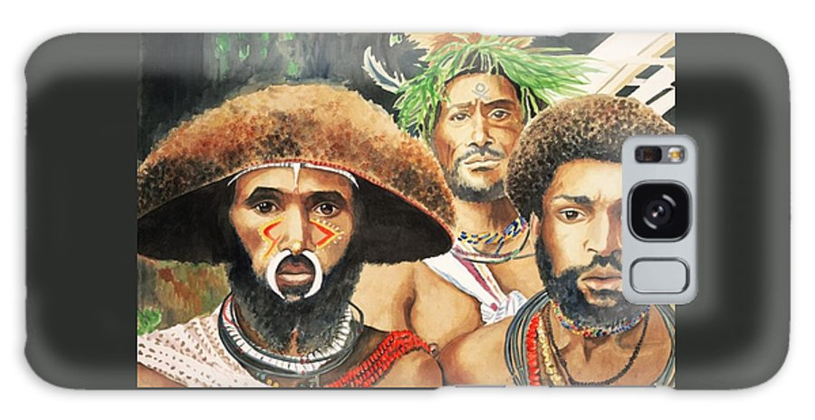 Men From New Guinea Galaxy S8 Case featuring the painting Men From New Guinea by Judy Swerlick