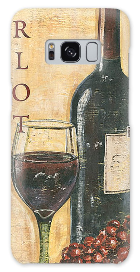 Wine Galaxy Case featuring the painting Merlot Wine and Grapes by Debbie DeWitt