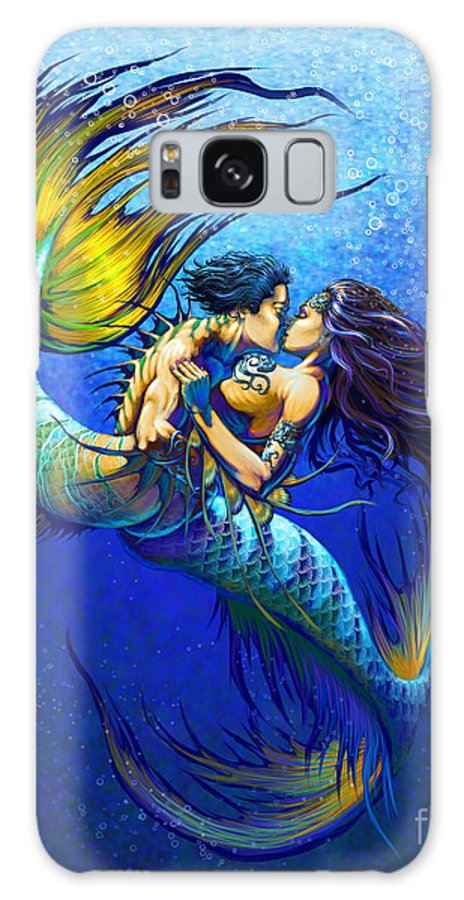Mermaid Galaxy S8 Case featuring the painting Mermaid Kiss by Stanley Morrison
