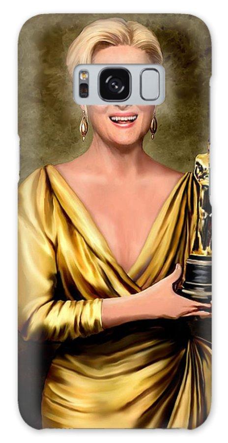 Meryl Streep Galaxy S8 Case featuring the painting Meryl Streep Winner by Jann Paxton