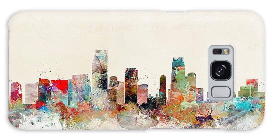 Miami City Skyline Miami Florida Galaxy S8 Case featuring the painting Miami Florida by Bri Buckley