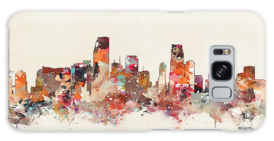 Miami Florida Skyline Galaxy S8 Case featuring the painting Miami Florida Skyline by Bri Buckley