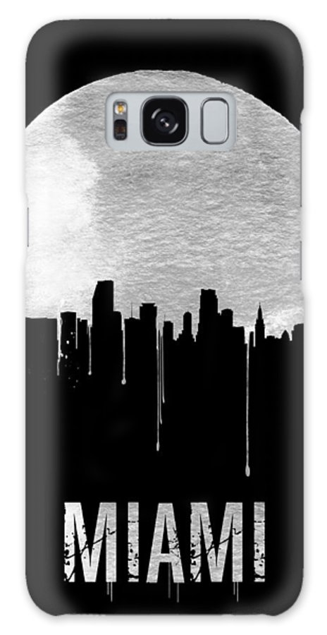 Miami Galaxy S8 Case featuring the painting Miami Skyline Black by Naxart Studio