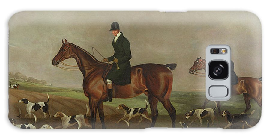 Michael Beverley With His Whipper In And Harriers Galaxy S8 Case featuring the painting Michael Beverley With His Whipper In And Harriers by Edwin W Cooper