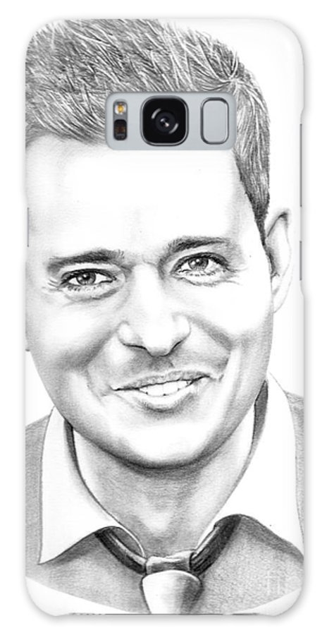 Pencil Galaxy S8 Case featuring the drawing Michael Buble' by Murphy Elliott