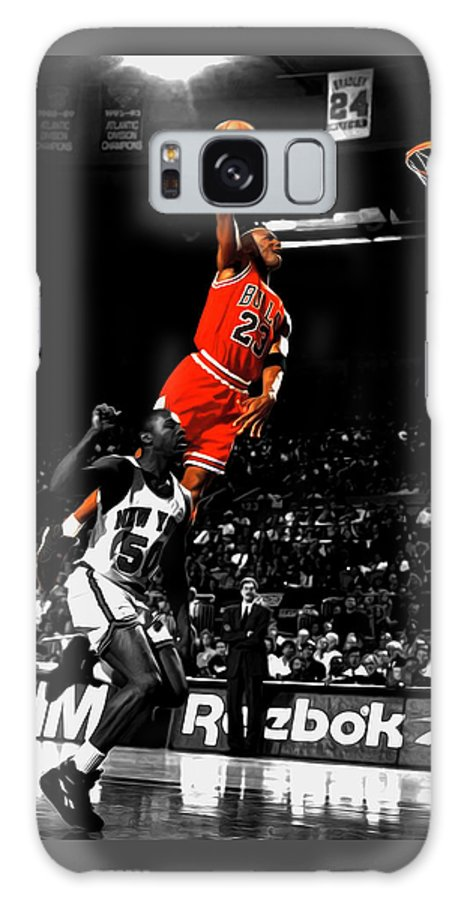 Michael Jordan Galaxy Case featuring the mixed media Michael Jordan Suspended In Air by Brian Reaves