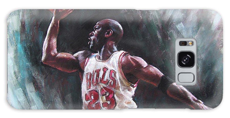 Michael Jordan Galaxy S8 Case featuring the pastel Michael Jordan by Ylli Haruni