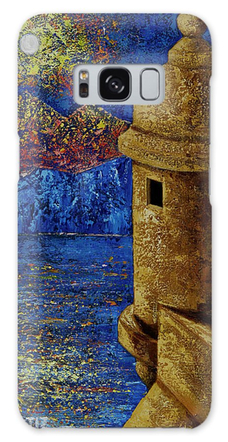 El Morro Galaxy Case featuring the painting Midnight Mirage in San Juan by Oscar Ortiz