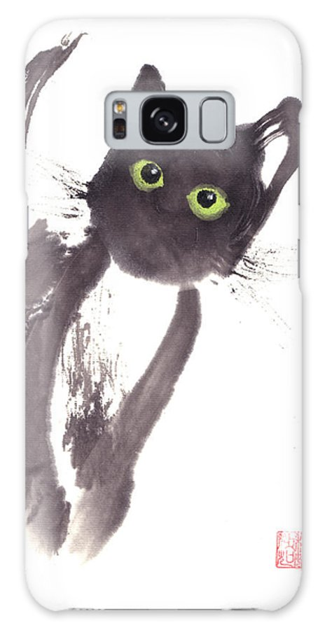 A Curious Black Kitten. This Is A Contemporary Chinese Ink And Color On Rice Paper Painting With Simple Zen Style Brush Strokes.  Galaxy Case featuring the painting Midnight by Mui-Joo Wee